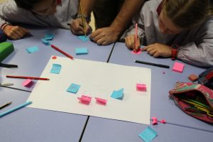 The children drew how they remembered the map of the physical space and highlighted locations of their interest.
