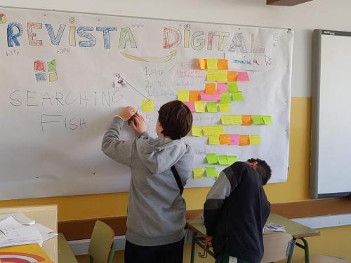 The students organised their ideas and selected their main topics for the school magazine on the conception wall.